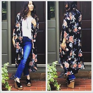 Jackets & Blazers - Boho chic Floral long kimono duster